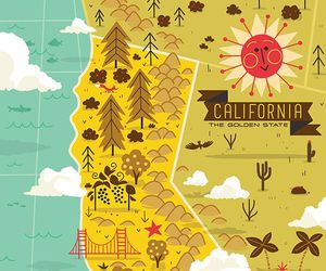 california, illustration, and map image