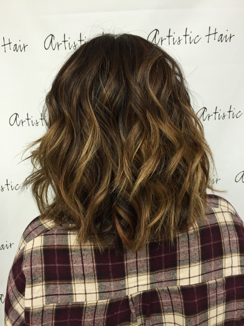 flannel, highlights, and wavy hair image