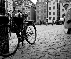 antique, bicycle, and black and white image