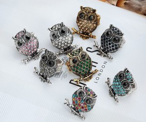 owl stretch rings, owl cocktail rings, and crystal stretch owl rings image