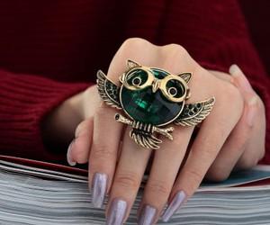 animal ring, vintage owl ring, and animal cocktail ring image