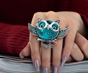 vintage owl ring, silver plated owl ring, and crystal owl ring image