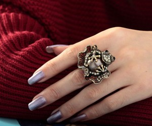 frog cocktail ring, frog stretch ring, and gold frog ring image