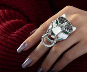 rhinestone leopard ring, leopard stretch ring, and leopard cocktail ring image