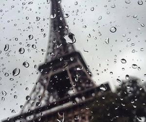rain, paris, and eiffel tower image
