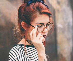 hair, glasses, and style image