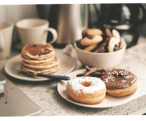 food, donuts, and pancakes image