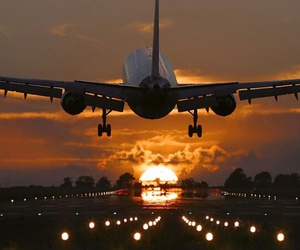 fly, plane, and sunset image
