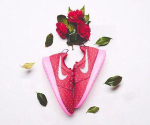 leaves, nike, and pink image