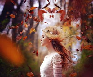 girl, autumn, and leaves image