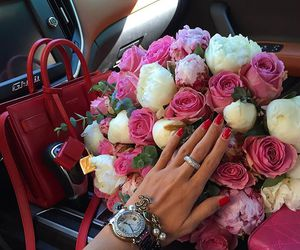 flowers, rose, and car image
