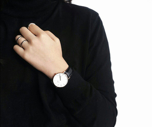 black, watch, and outfit image