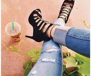 beauty, heels, and jeans image