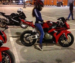 girl, moto, and red image