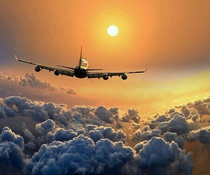airplane, photography, and sun image