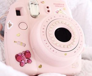 camera, fluffy, and pink image