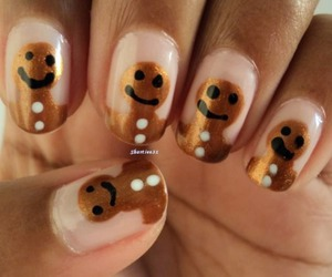 christmas, nail art, and gingerbread image