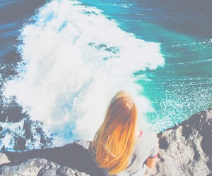 beach, bright, and cliff image