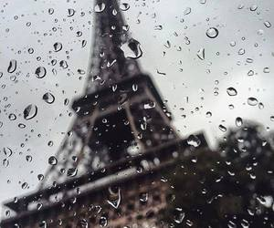 rain, paris, and eiffel tower image