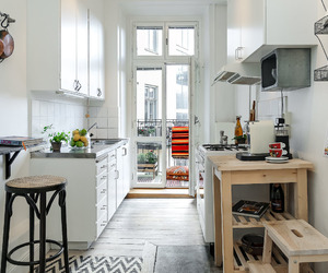 kitchen, apartment, and small kitchen image