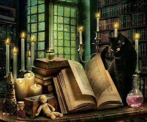 magic, book, and cat image