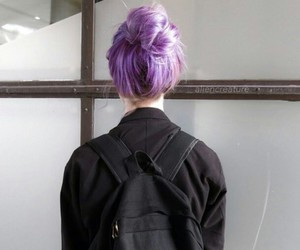 backpack, colorful hair, and black image