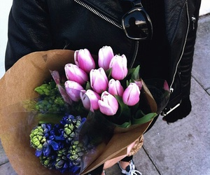 flowers, black, and tulips image