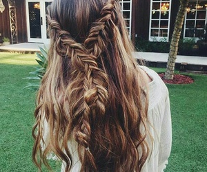 braid, brown hair, and curly image