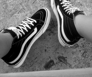 black and white, high top, and vans image