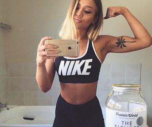 girl, fitness, and blonde image