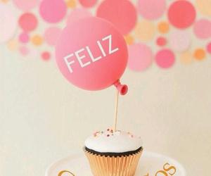 cupcake, pink, and balloons image