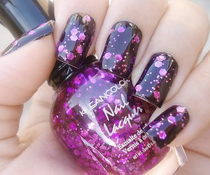 nails, purple, and black image
