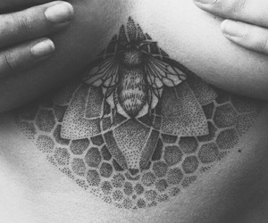 black and white, chest, and bee tattoo image