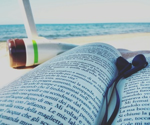 beach, book, and music image