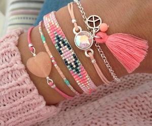 bracelet, hipster, and pink image