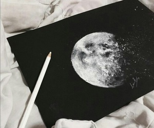 moon, art, and drawing image