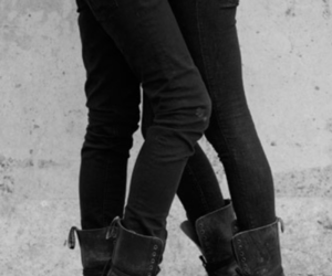 couple, black and white, and boots image