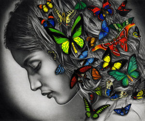 butterfly, drawing, and woman image