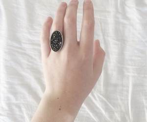 hand, ring, and black ring image
