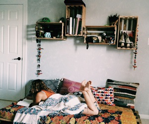 girl, hippie, and interior design image