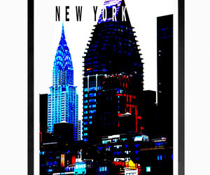 chrysler building, digital print, and new york poster image