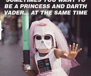 princess, darth vader, and funny image