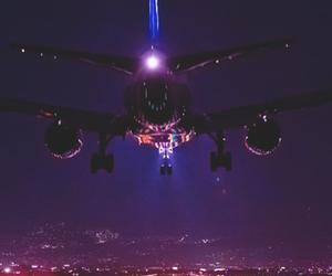 travel, night, and plane image