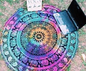 colorful, macbook, and mandala image