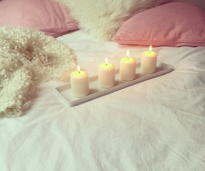 candle, bed, and pink image