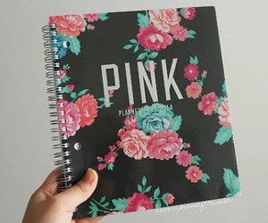 notebook, pink, and flowers image
