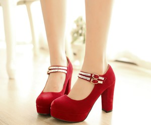 heels, red, and red shoes image