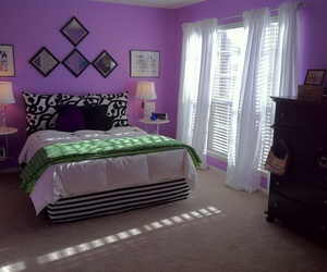 bed, bedroom, and purple image