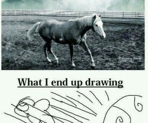 funny, drawing, and horse image