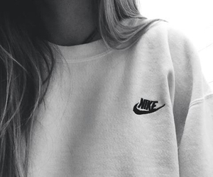 nike, black and white, and white image